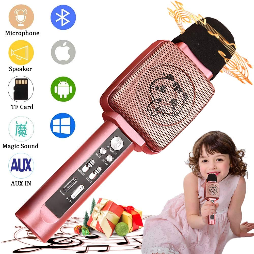 TSUN Kids Karaoke Microphone,Wireless Portable Karaoke Microphone for Kids with Bluetooth Speaker,Voice Changer and Song Recorder, Top Birthday Gifts for Girls Age 4-18, Best presents for Teen Girls by YSUN (Image #1)