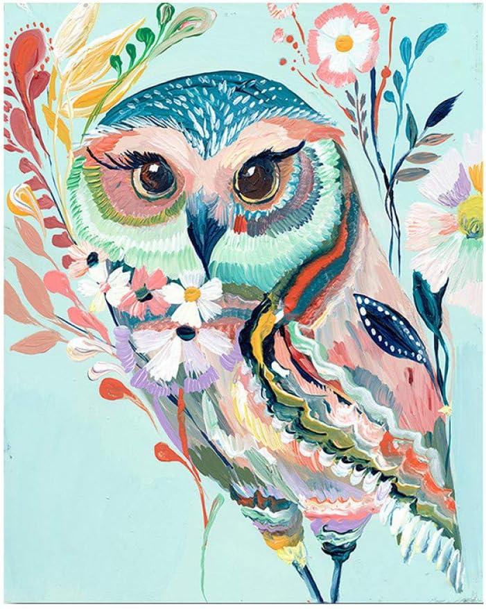 GKJRKGVF Bunte Eule DIY malen nach Zahlen kit Tiere handgemalte malerei nach Zahlen wandkunst leinwand malerei Kunst