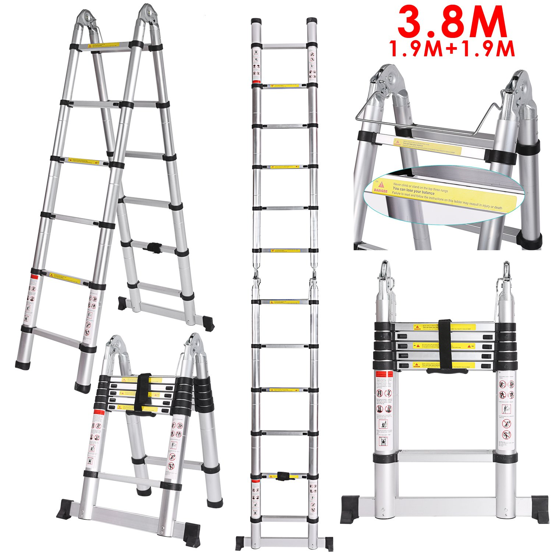 3.8M Klappleiter und Faltbaren Teleskopierbaren Aluminiumleiter 150KG Mehrzweck Teleskopleiter