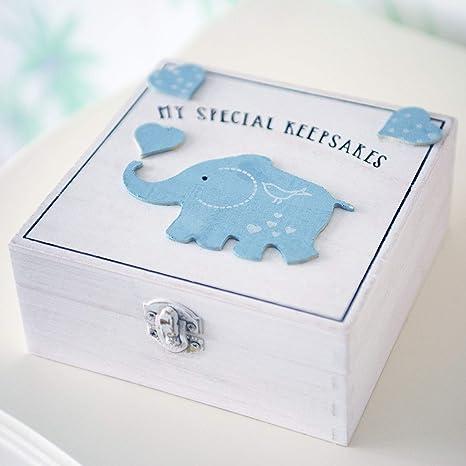 Homezone Madera Recuerdo Recuerdos Caja Bebé Estilo Vintage Memoria Caja Recién Nacido Regalos de Bebé Regalo de Bautizo (Azul): Amazon.es: Bebé