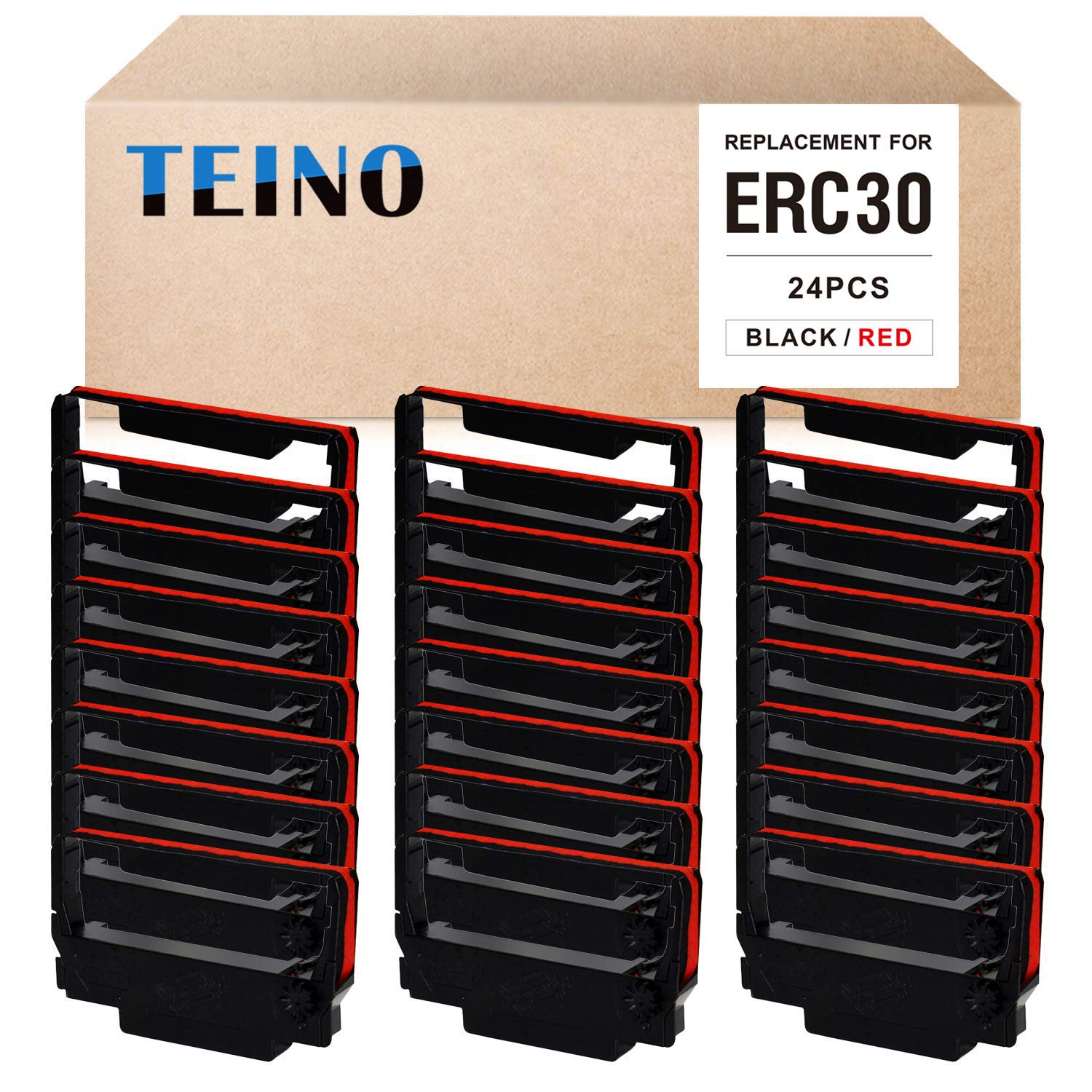 TEINO 24 Pack ERC30 ERC-30 ERC 30 34 38 B/R Compatible Ribbon Cartridge for use in ERC38 NK506 (Black Red) by TEINO