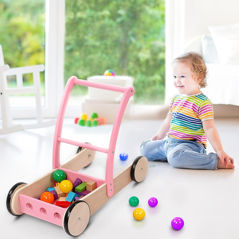 Infantastic Lauflernwagen Laufwagen Holzwagen Laufen lernen Baby mit vier Rollen in zwei verschiedenen Farben