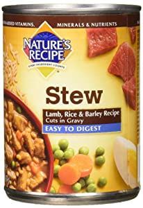 Nature's Recipe Easy to Digest Wet Dog Food, Lamb, Rice & Barley Cuts in Gravy Recipe, 13.2 Ounce Can