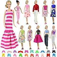 ZITA ELEMENT 10 Stück Puppensachen Mode Fashion Urlaubstag Kleider für Barbie Puppen Handgefertigte Puppenkleidung Puppen Outfits Zubehör Kostüm 5 Partymoden Kleidung mit 5 Paar Schuhen