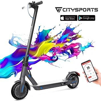 CITYSPORTS Patinete Eléctrico, Scooter Eléctrico Plegable con 8,5 Pulgadas, Bluetooth & Batería de Largo- Alcance, E-Scooter Súper Ligero Adulto