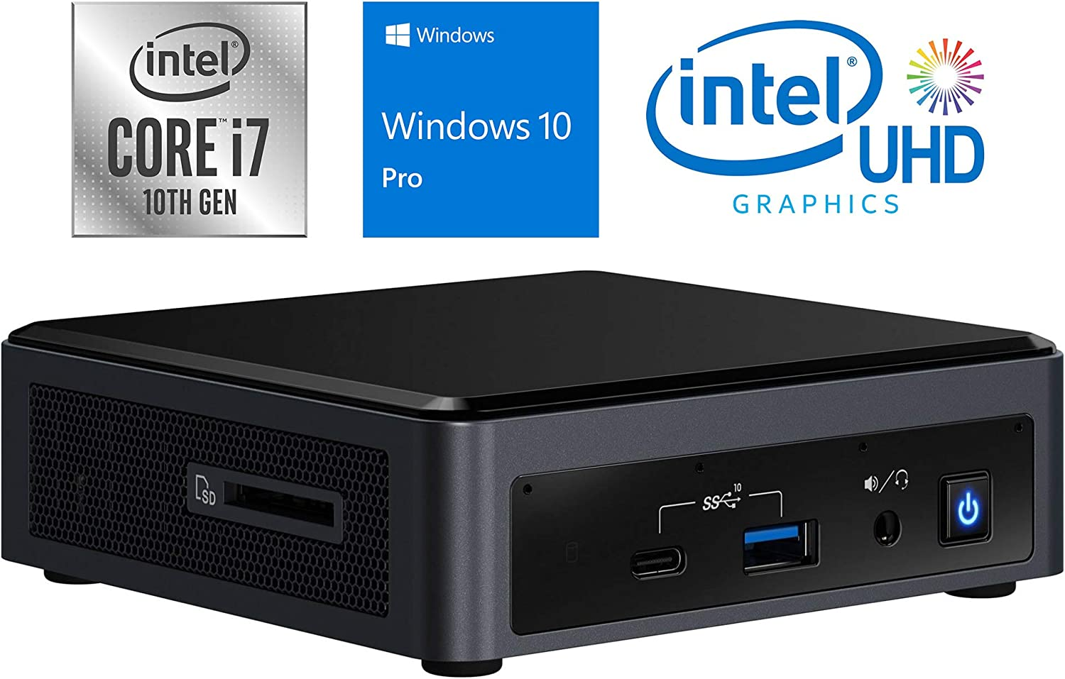 Intel NUC10i7FNK Mini PC, Intel Core i7-10710U Upto 4.7GHz, 64GB RAM, 1TB NVMe SSD, HDMI, Thunderbolt, Card Reader, Wi-Fi, Bluetooth, Windows 10 Pro