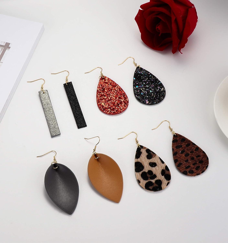 Finrezio 8pairs Leather Earrings Lightweight Teardrop Dangle Earrings Leaf Leopard Print Earrings Set for Women Girls