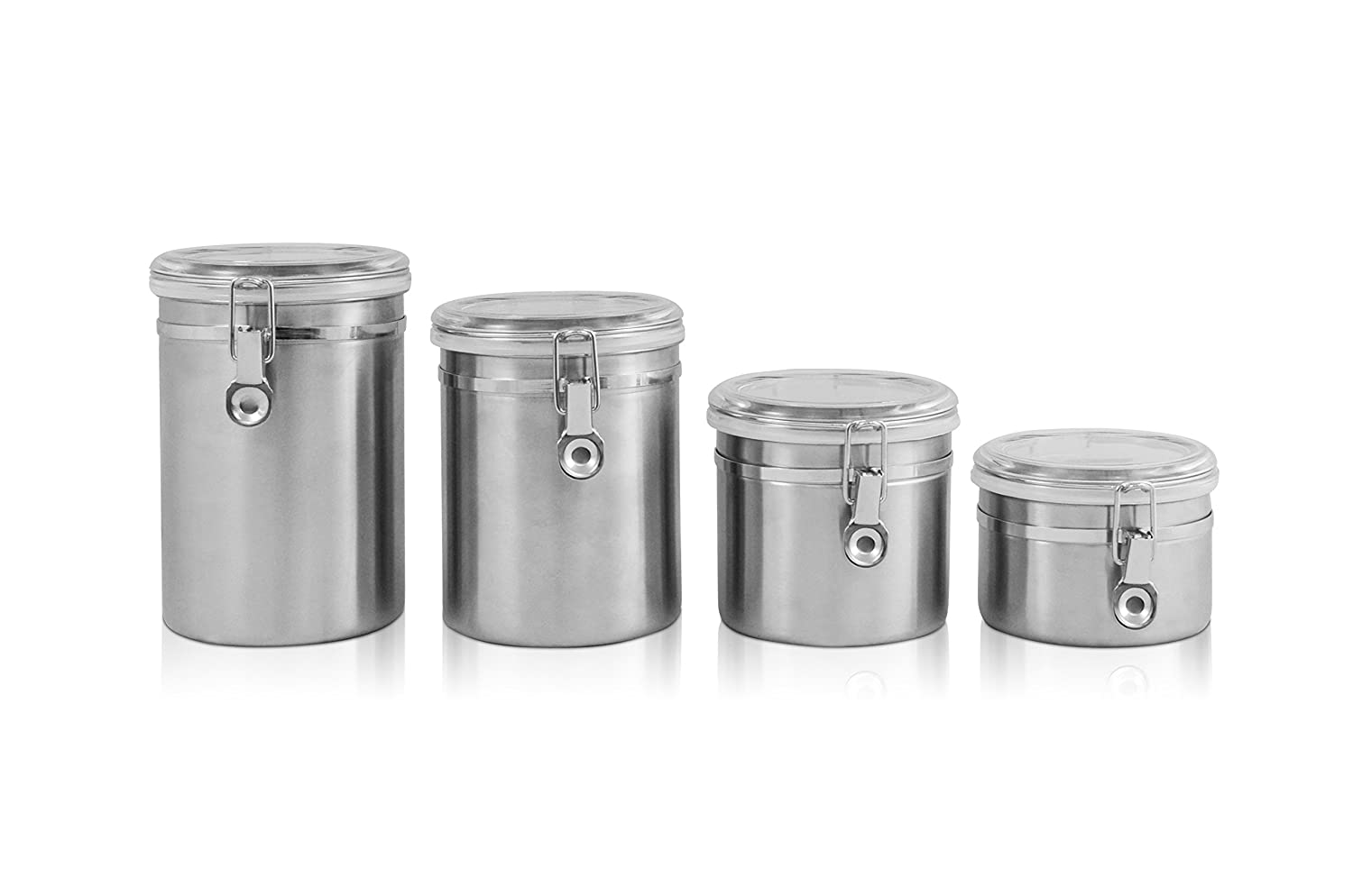 amazon com ragalta rca 045 4 piece stainless steel canister set amazon com ragalta rca 045 4 piece stainless steel canister set with airtight acrylic lids metallic kitchen storage and organization product sets
