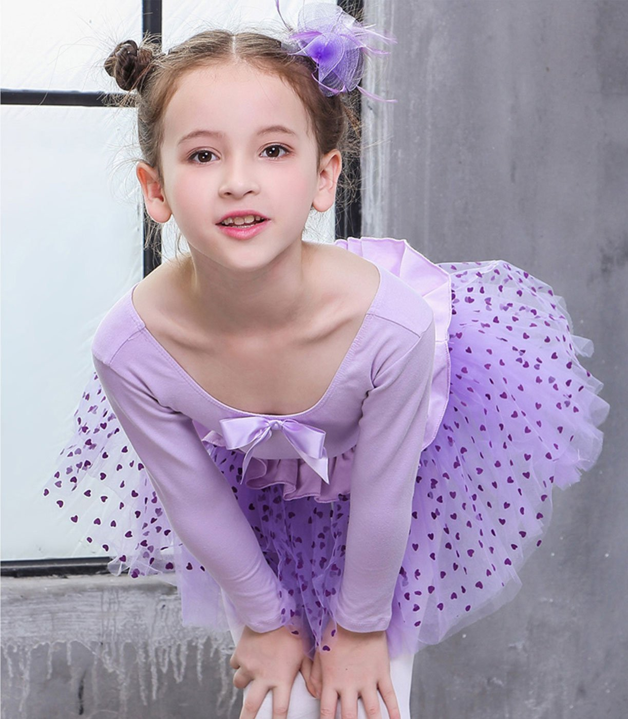FEOYA Girls Leotards for Ballet Long Sleeve with Skirt