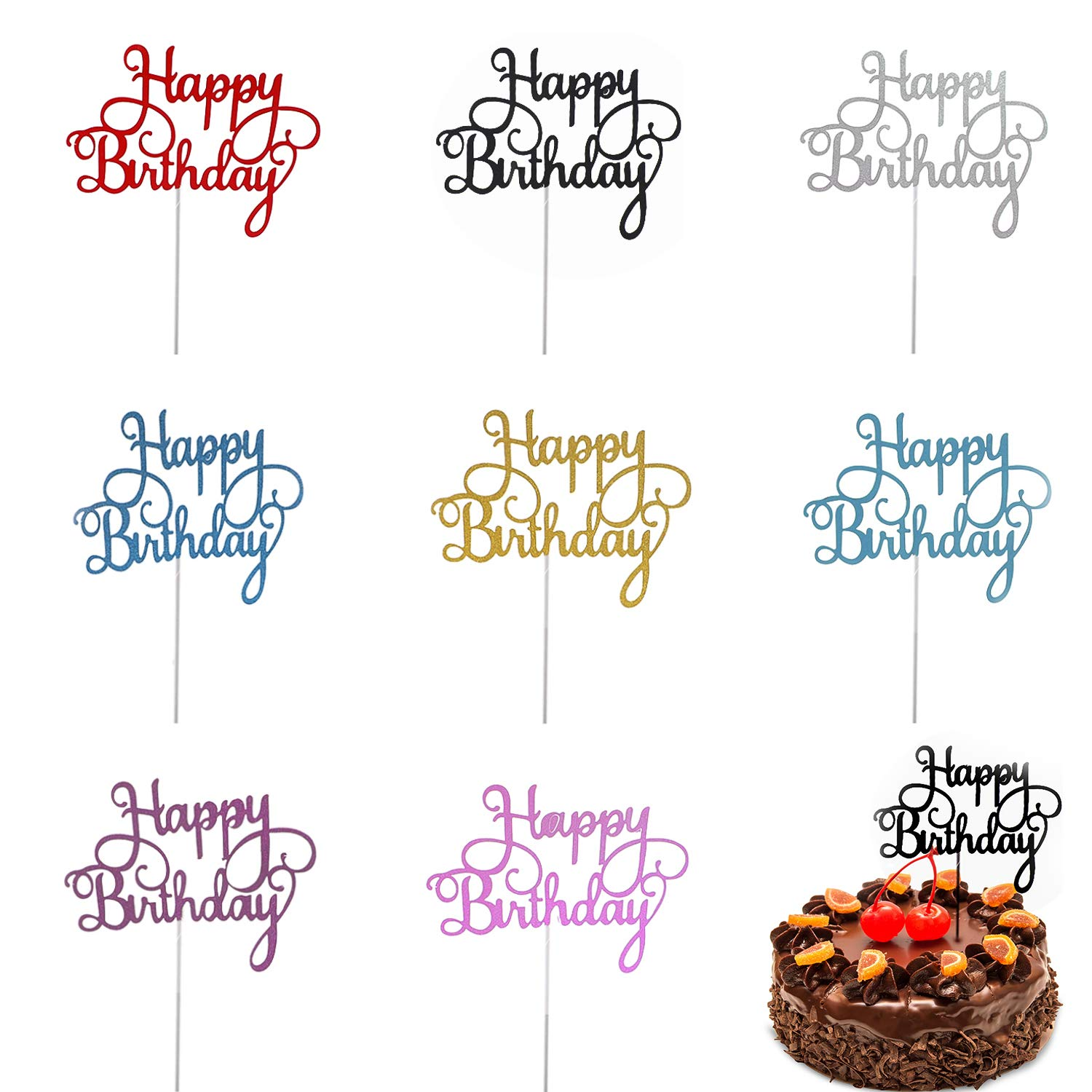 Trounistro Happy Birthday Cake Toppers 40 Pieces Cake Toppers Glitter Cardstock Topper Letters Happy Birthday For Your Friends And Family Party Decorations Eight Color Amazon Com Grocery Gourmet Food