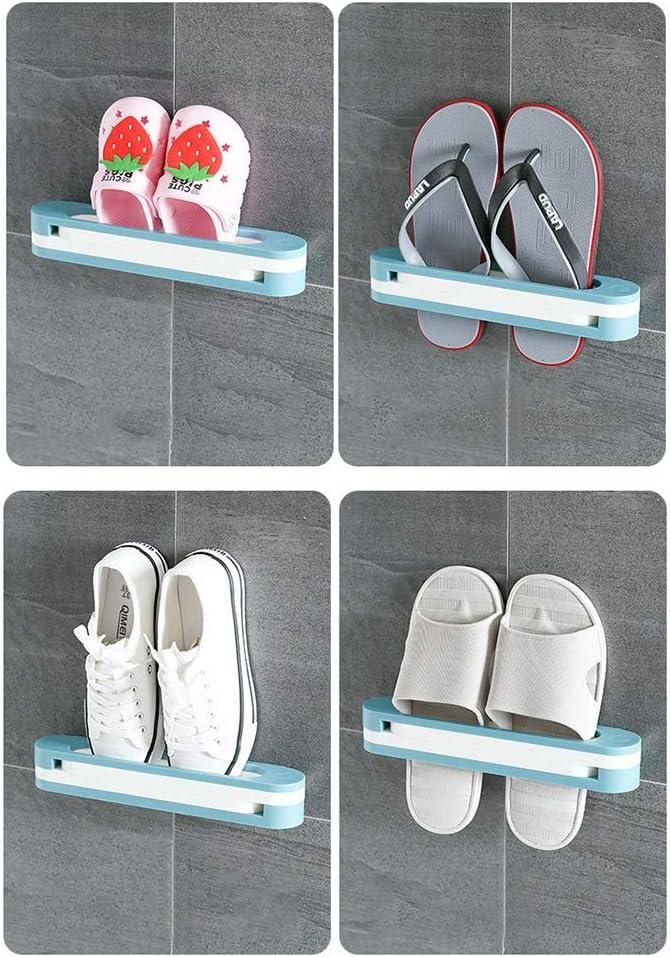 Soporte para zapatillas 3 en 1 Soporte montado en la pared Tipo de hogar Toallero sin puntas Bastidor de almacenamiento plegable a mano