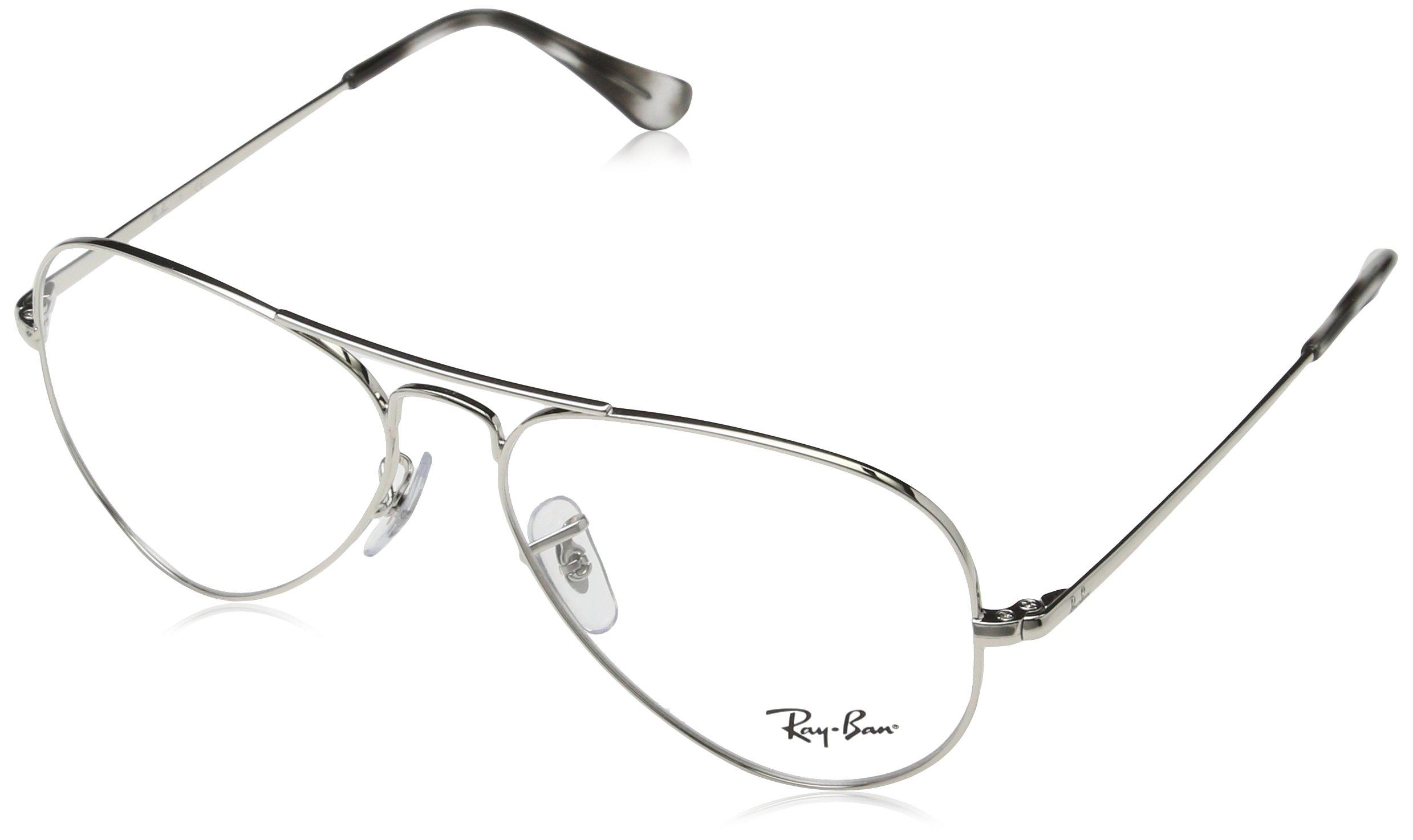 Ray-Ban RX6489 Aviator Metal Eyeglass Frames, Silver/Demo Lens, 55 mm by Ray-Ban