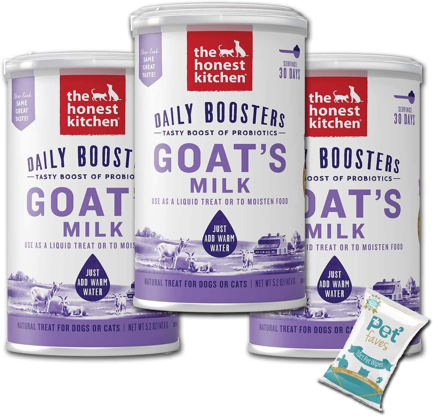 (3 Pack) The Honest Kitchen Probiotic Goat's Milk, Beef Bone Broth and Herbal Digestive Supplement Pet Food for Cats and Dog with 10ct Pet Faves Wipes (Probiotic Goat's Milk)