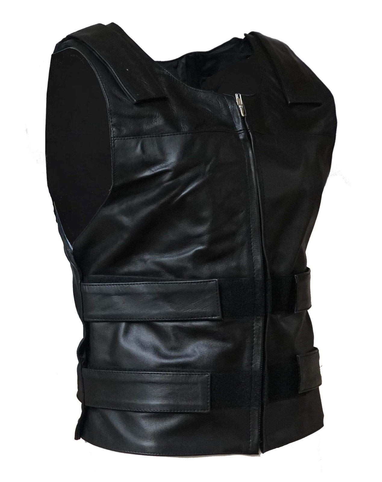IKleather Mens Bullet Proof style Leather Motorcycle Vest for bikers Club Tactical Vest (M, Black)