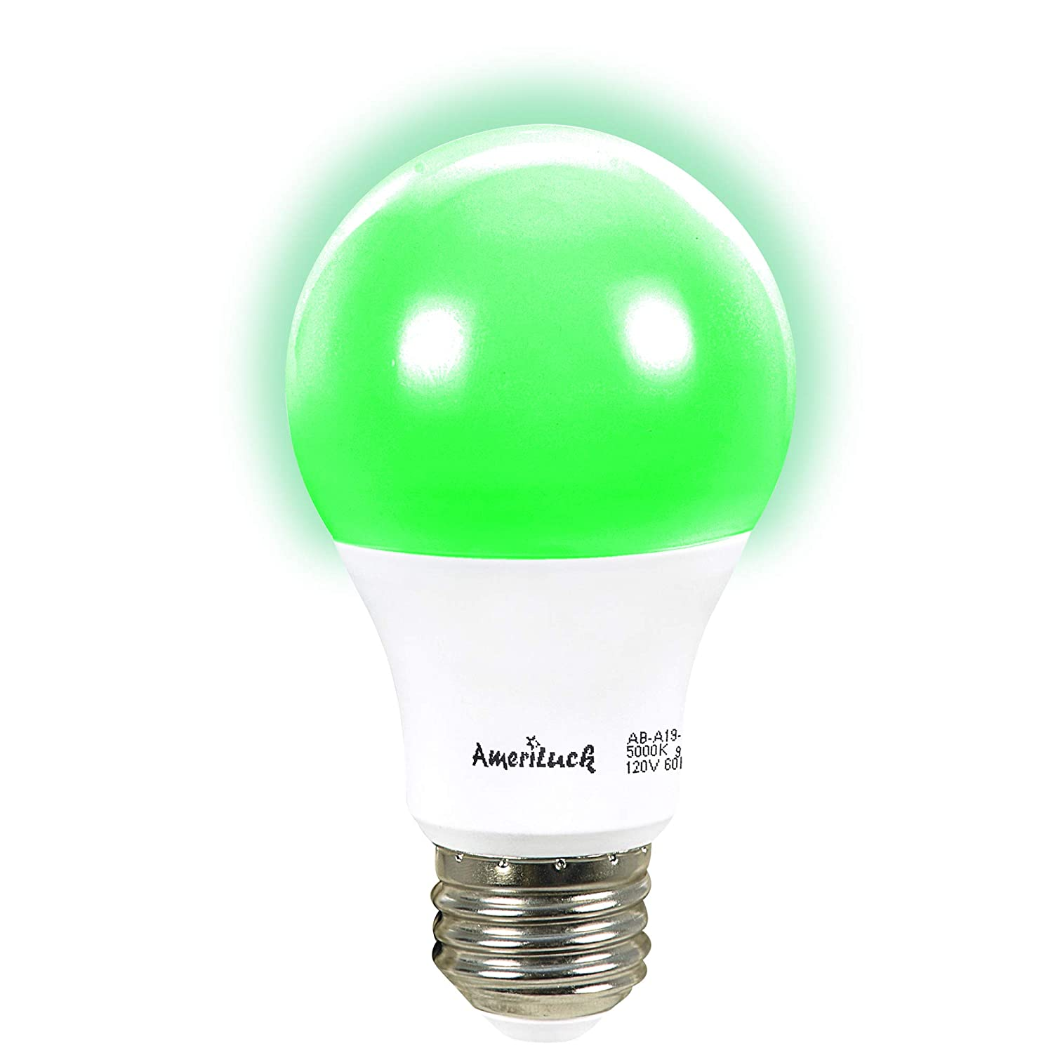 AmeriLuck Green Colored A19 LED Light Bulb, 60W Equivalent (7W), E26 Medium Scew Base, 2-Year Warranty (4 Pack) - - Amazon.com