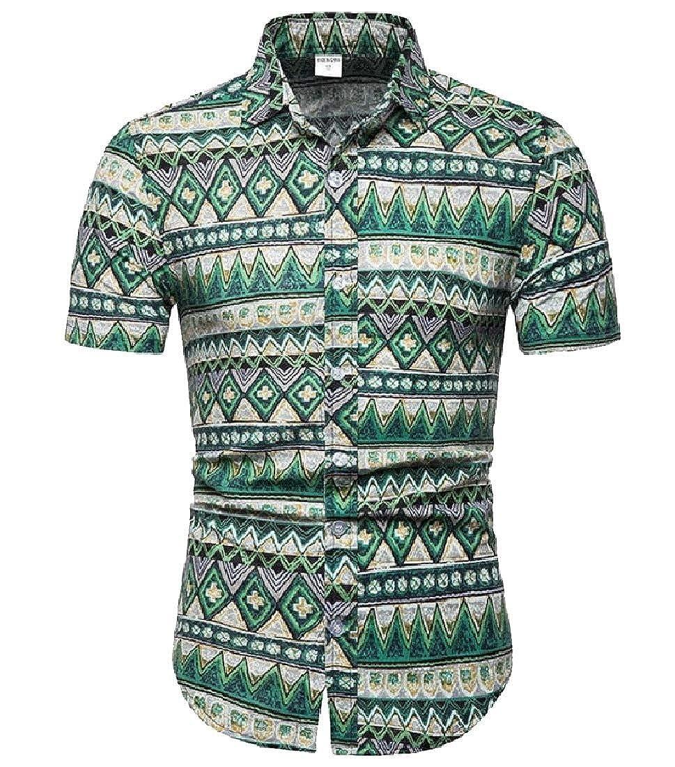 Abetteric Men Short-Sleeve Button Plus-Size Floral Print Summer T-Shirts Shirt