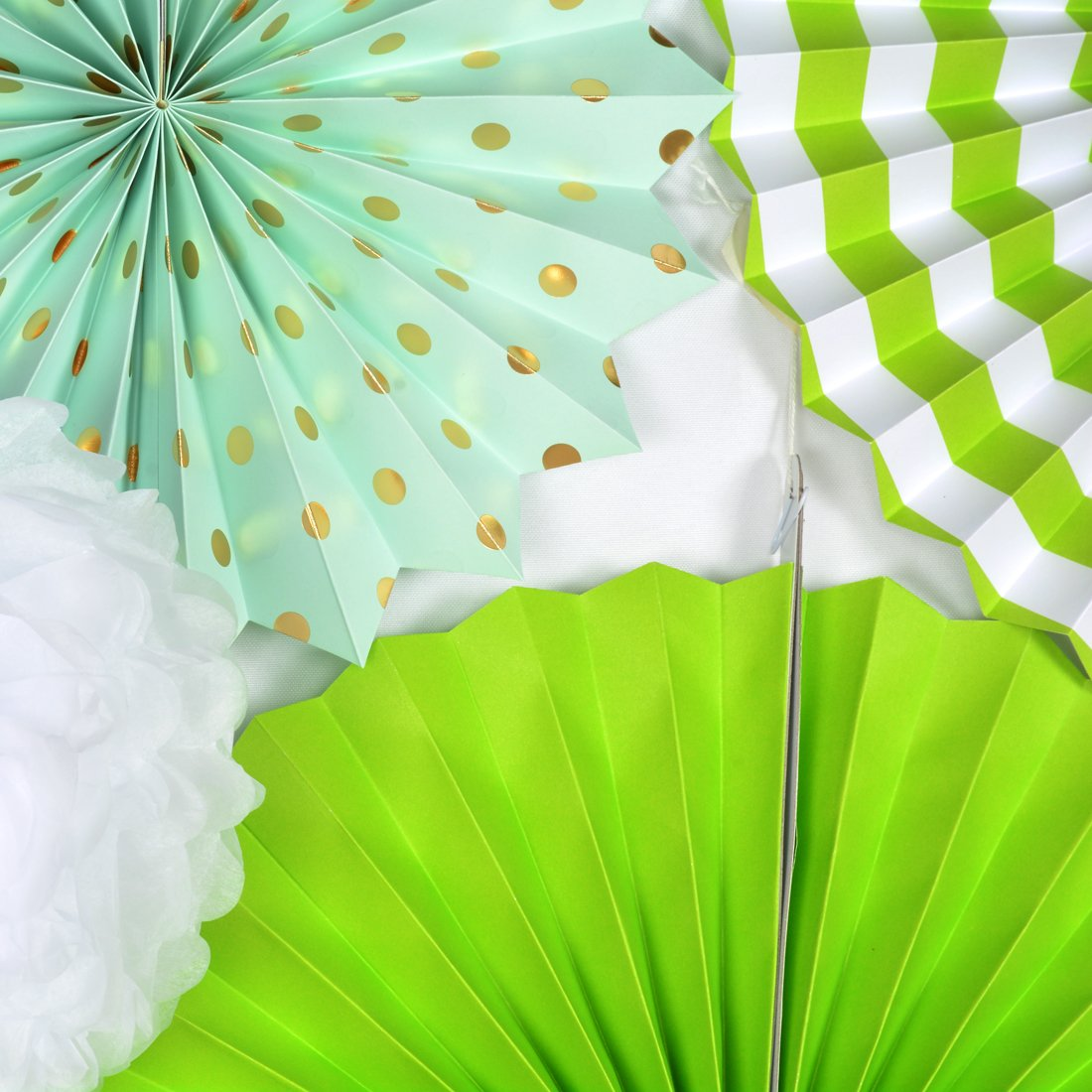 17pcs Yellow Party Decorations Paper Fans Tissue Paper Pom Poms Mint Cream for Birthday Wedding Baby Shower Baptism Home Room Decor