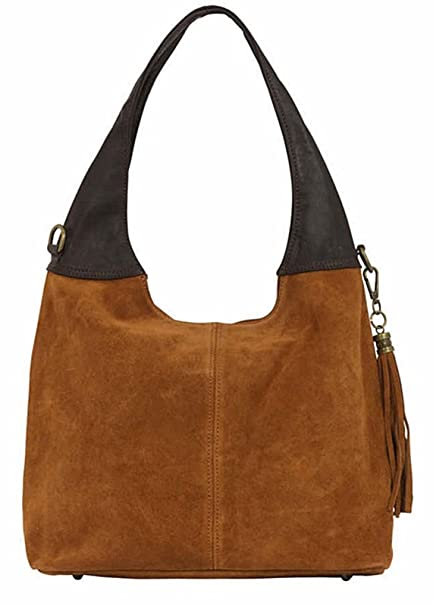 eab716c3f93 Handbag Bliss Italian Suede & Leather Slouch/Shoulder Bag Wide Handle With  Tassel Trim New Arrival (Tan & Brown): Amazon.co.uk: Luggage