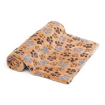 Terciopelo de Coral manta de forro polar calentador de huellas de gato de mascota Perro Cachorro Cama Mat Pad Café S: Amazon.es: Productos para mascotas
