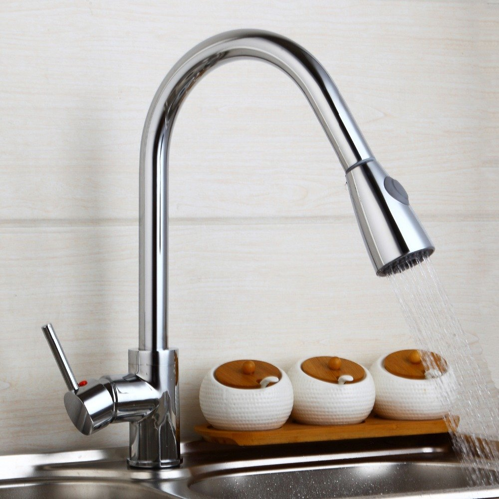 Maifeini Modern New Polish Chrome Kitchen Faucet Pull Out Single Handle Swivel Spout Vessel Sink Mixer Tap