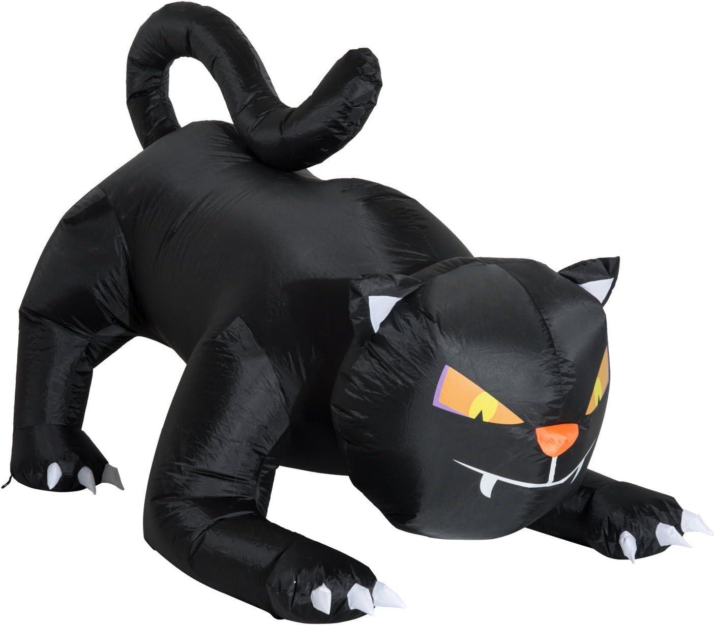 HOMCOM 6 Giant Creeping Black Cat LED Light Outdoor Airblown Inflatable Halloween Yard Decration