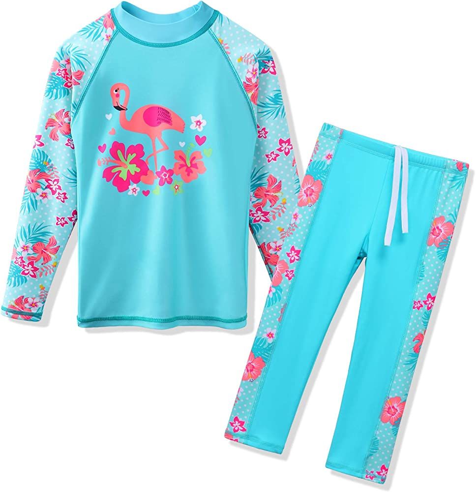 2f24d31a65e TFJH E Swimsuits for Girls Long Sleeve 2-Pieces Kids Sun Protection  Beachwear Sunsuits 3t