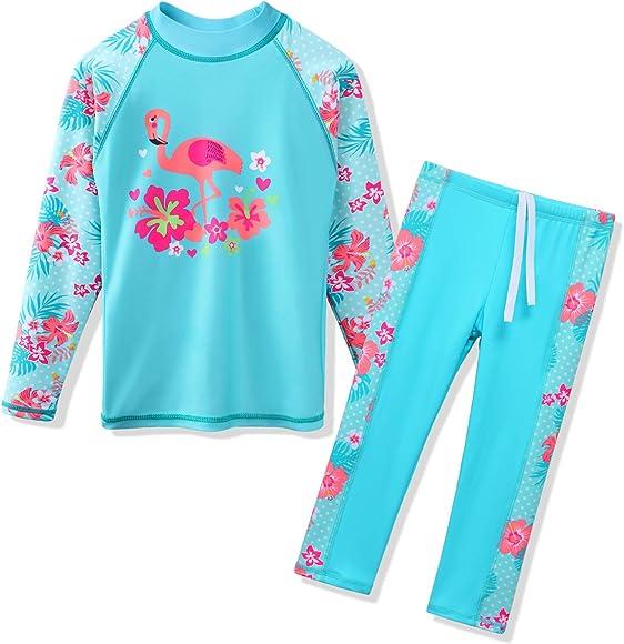 a52fec2e398fe TFJH E Swimsuits for Girls Long Sleeve 2-Pieces Kids Sun Protection  Beachwear Sunsuits 3t