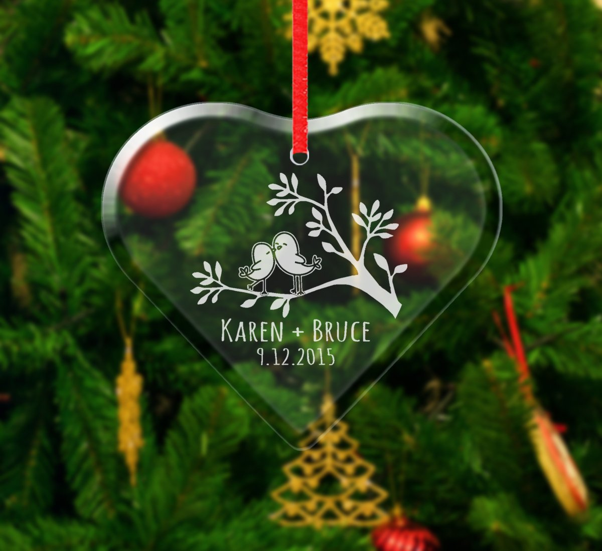Love Birds Personalized Custom Ornament Our First Christmas Dating Anniversary Gift for Boyfriend Girlfriend Married Couples Holiday Etched Gifts