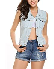 Halife Womens Classic Button Up Washed Denim Vest Jacket With Chest Flap Pockets
