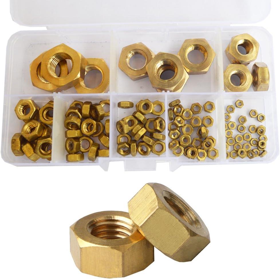 HVAZI 195PCS Metric M2 M2.5 M3 M4 M5 M6 M8 M10 Brass Hex Nuts Assortment Kit