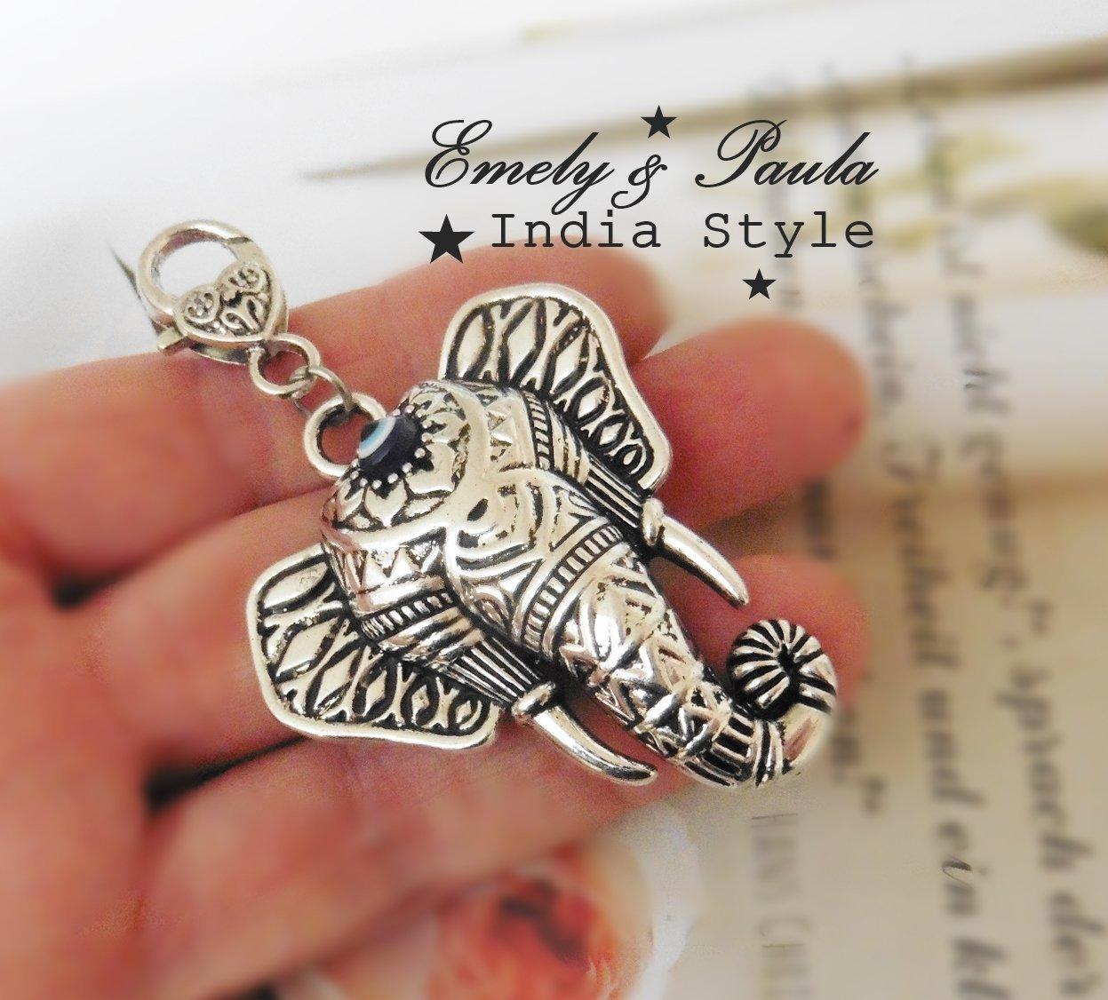 1 Anhänger Elefant XL Stoßzähne Indien Elefantenkopf Schutzanhänger blaues Auge Evil Eye Hazar Boncuk beschützen