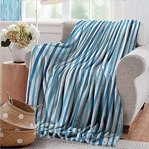 White Green Blue Colour Paint Brush Striped Pattern Chenille Upholstery Fabric