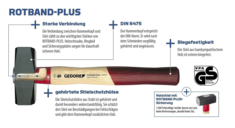 500 g GEDORE 600 E-500 Schlosserhammer ROTBAND-Plus mit Eschenstiel