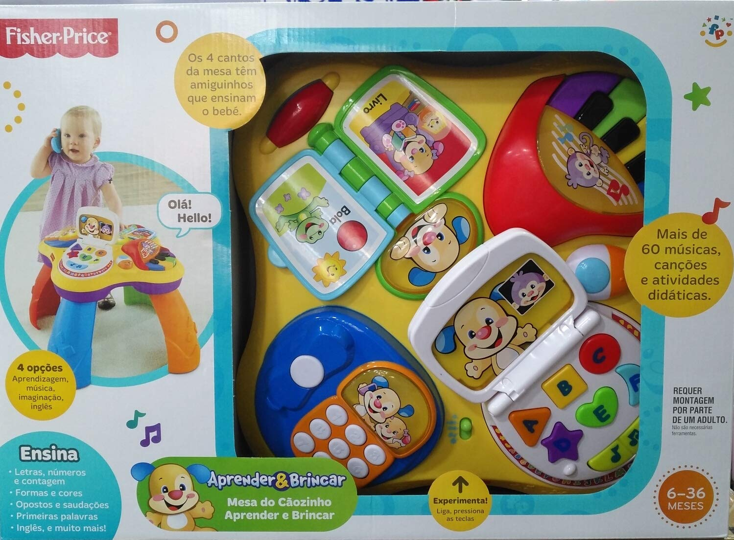 BHT03 Fisher Price Mesa do Cãozinho Aprender e Brincar Portugues ...