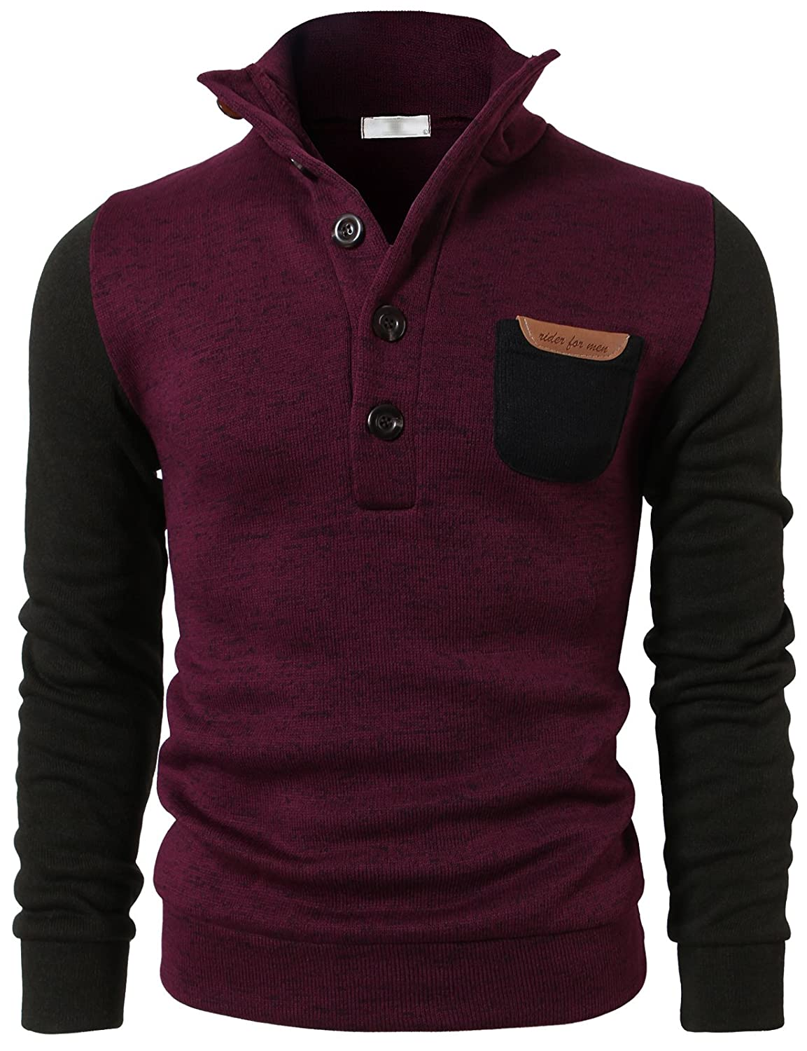 H2H Mens Fashion Casual Solid Button Pointed High-neck Fleece Lining Sweater