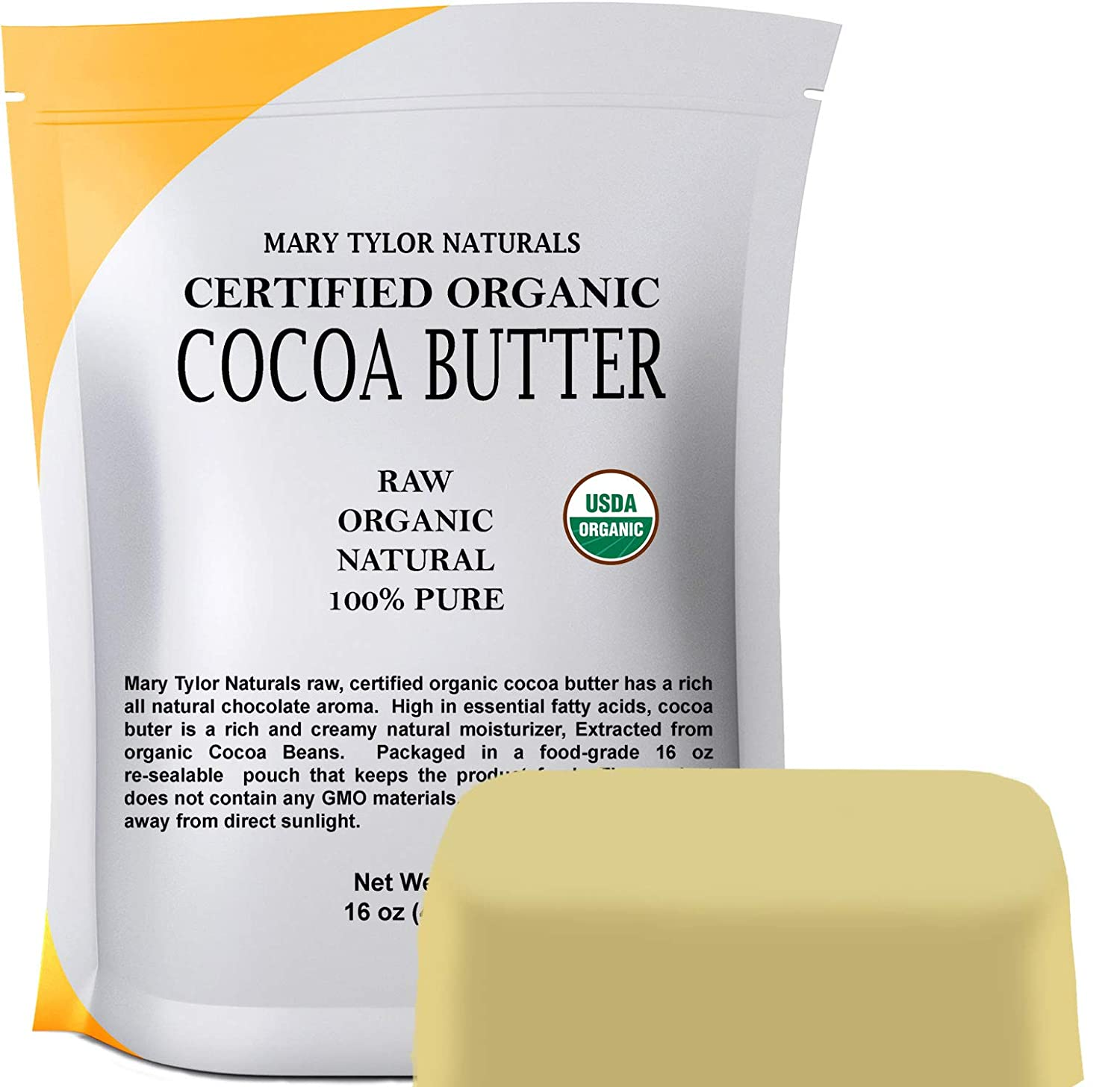 Organic Cocoa Butter USDA Certified by Mary Tylor Naturals Raw Unrefined, Non-Deodorized, Rich In Antioxidants for DIY Recipes, Lip Balms, Lotions, Creams, Stretch Marks