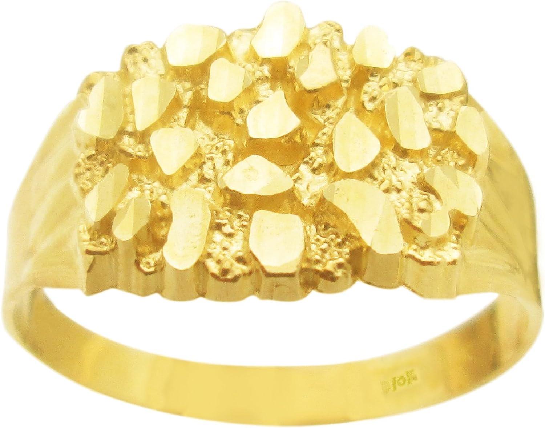 10k Gold Solid Nugget Ring Men's Gold Ring