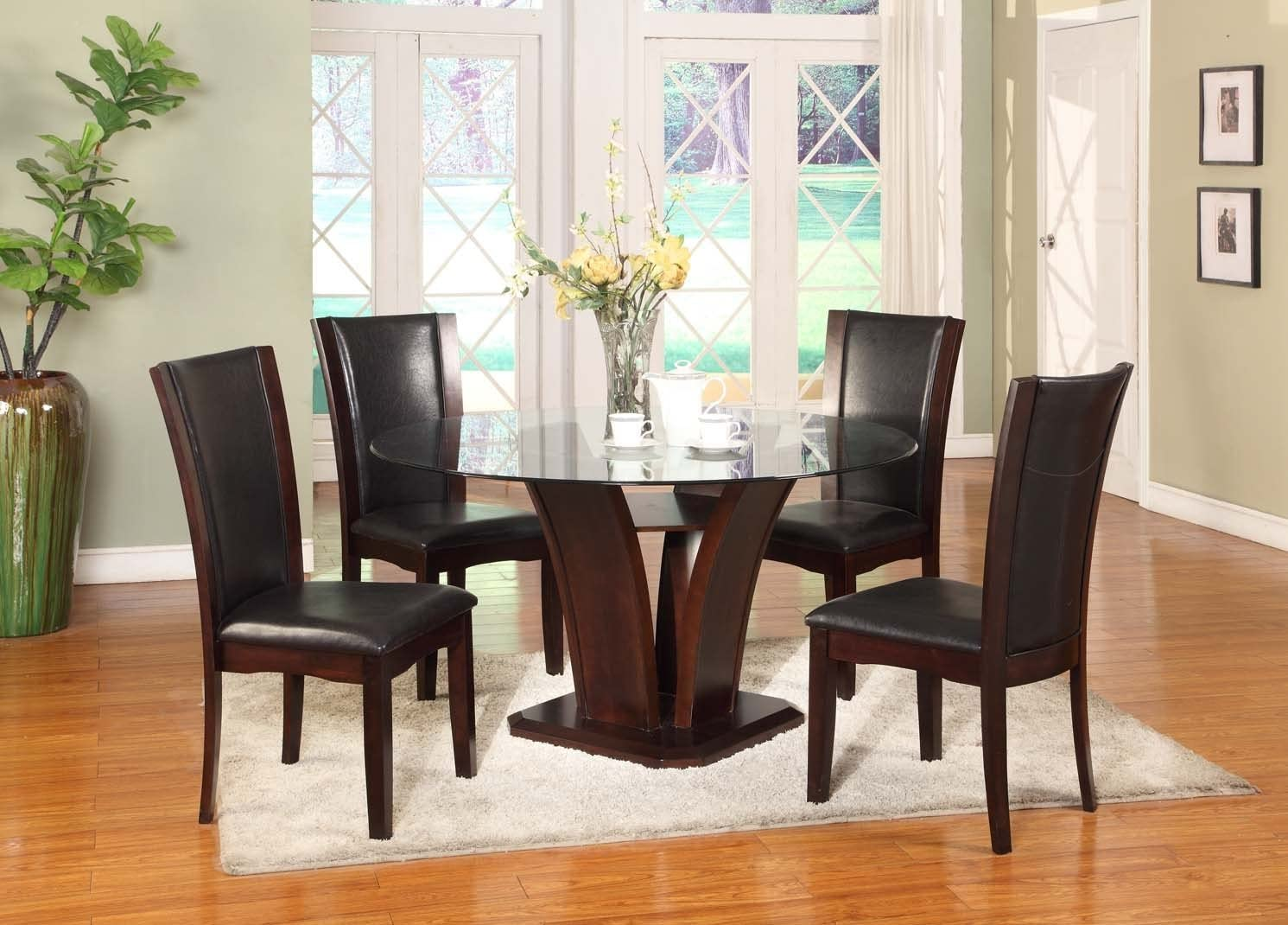 Roundhill Furniture Clar 5-Piece Glass Top Dining Set, Dark Cappuccino Finish
