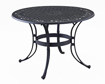 Captivating Home Style 5554 32 Biscayne Round Outdoor Dining Table, Black Finish, 48
