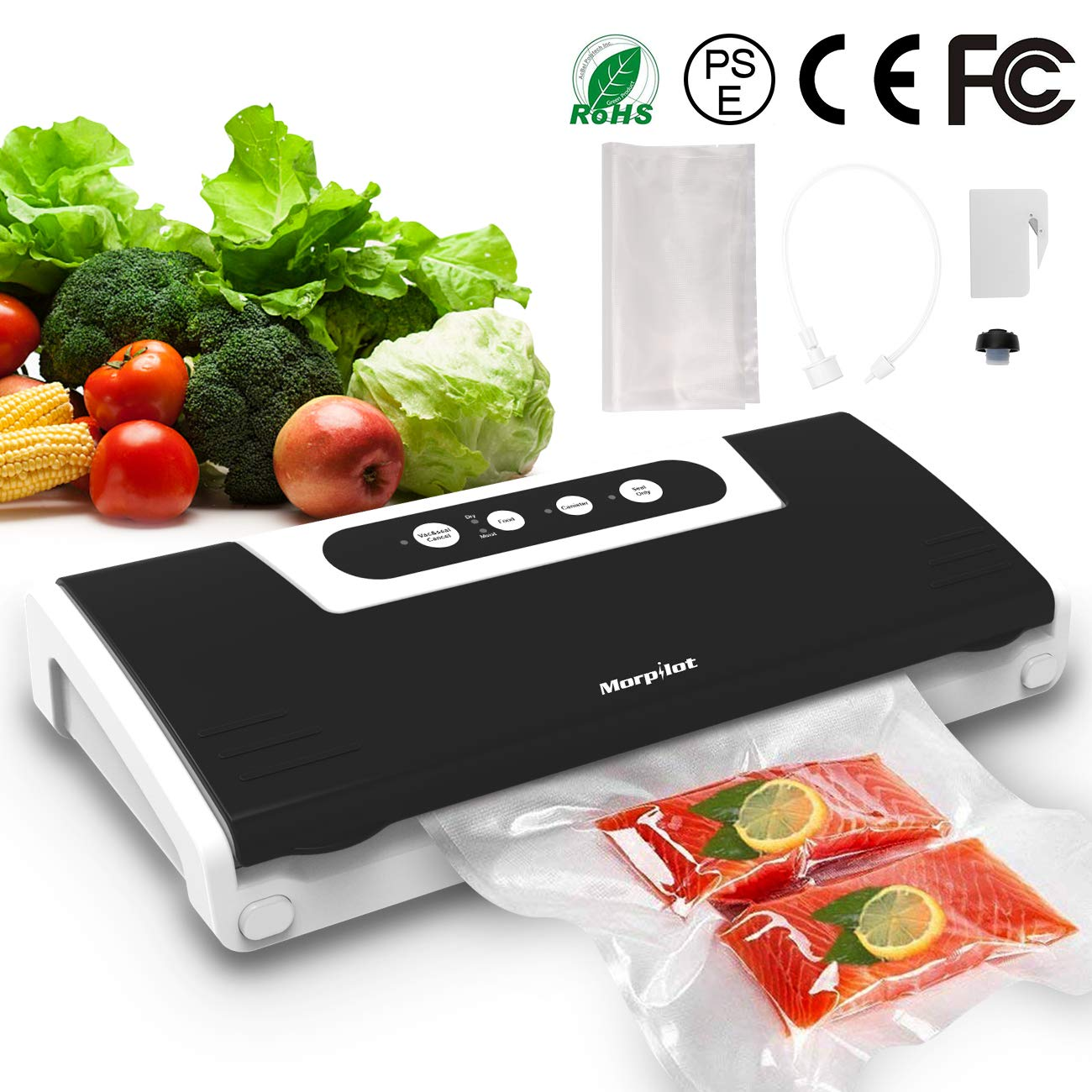 Vacuum Sealer,Automatic Vacuum Air Sealing System for Food Preservation and Air Suction Hose for Sous Vide ,Dry & Moist Food Modes,4 in 1 Food Sealer with Cutter,10 Vacuum Sealer Bags,Vacuum Bottle Stopper ,Safety Certified.