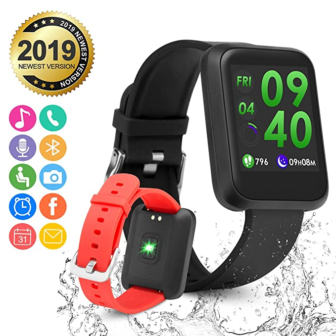 Smart Watch,Bluetooth Smartwatch Fitness Watch Phone Wrist Watch Touch Screen IP67 Waterproof Fitness Tracker with Heart Rate Monitor Pedometer Sports ...