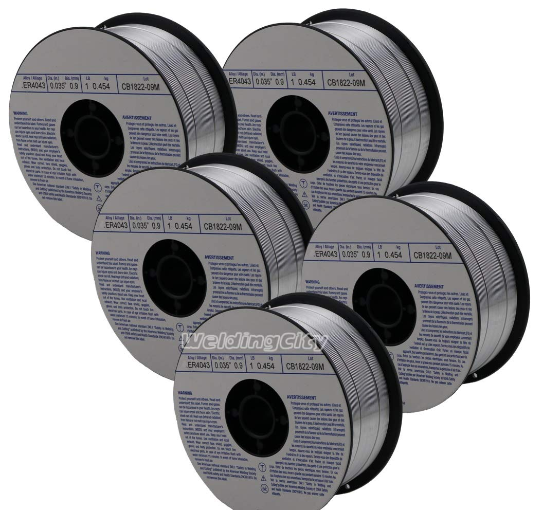 WeldingCity 5 Rolls of ER4043 Aluminum MIG Welding Wire 1-Lb Spool 0.035'' (0.9mm) by WeldingCity