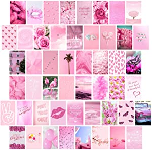 Pink Wall Collage Kit Aesthetic Pictures, Collage Kit for Wall Aesthetic, Pink Room Decor, Pink Wall Decor, Room Decor for Teen Girls, Wall Collage Kit, Pink Collage Kit, 50pcs 4x6 inch