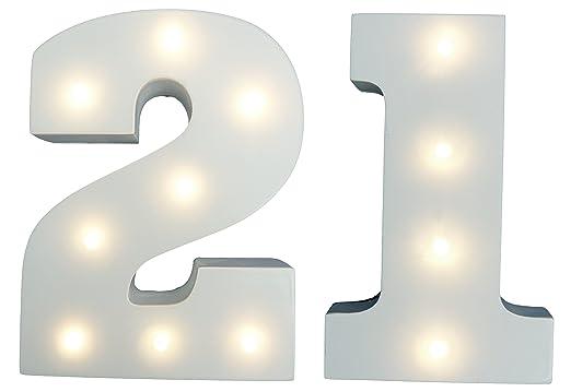 Luces para fiesta de 21 cumpleaños, diseño de número 21 con ...