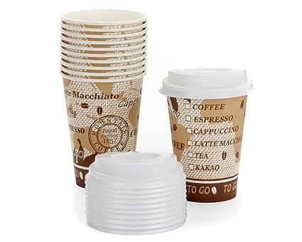 100 X Coffee to go vasos de cartón con tapa, papel Taza, Taza de
