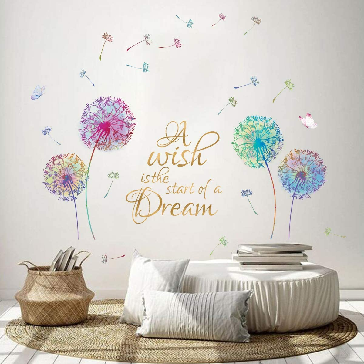 Dandelions Wall Decals Quotes May the Warm Winds Of Heaven Phrase Lettering Vinyl Sticker Living Room Bedroom Decor Interiors Art NN1
