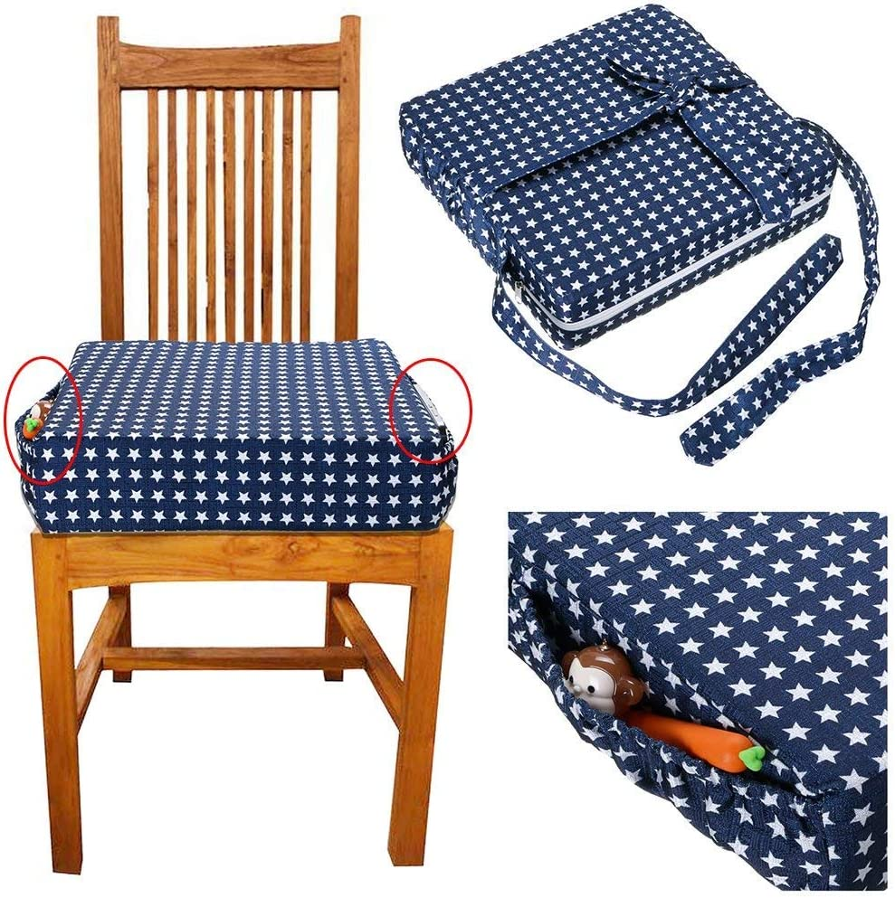 Baby Toddler Kids Infant Portable Dismountable Highchair Booster Cushion Washable Thick Chair Seat Pads Strap Nrpfell Chair Increasing Cushion Blue Star