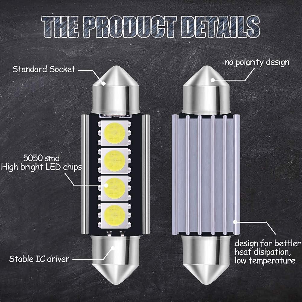 23Pcs Car LED Interior Light Bulb,Canbus Error Free LED Bulbs Kit for Car Interior Dome Map Door Courtesy License Plate Lights Festoon BA9S Canbus T10 C5W Xenon-White