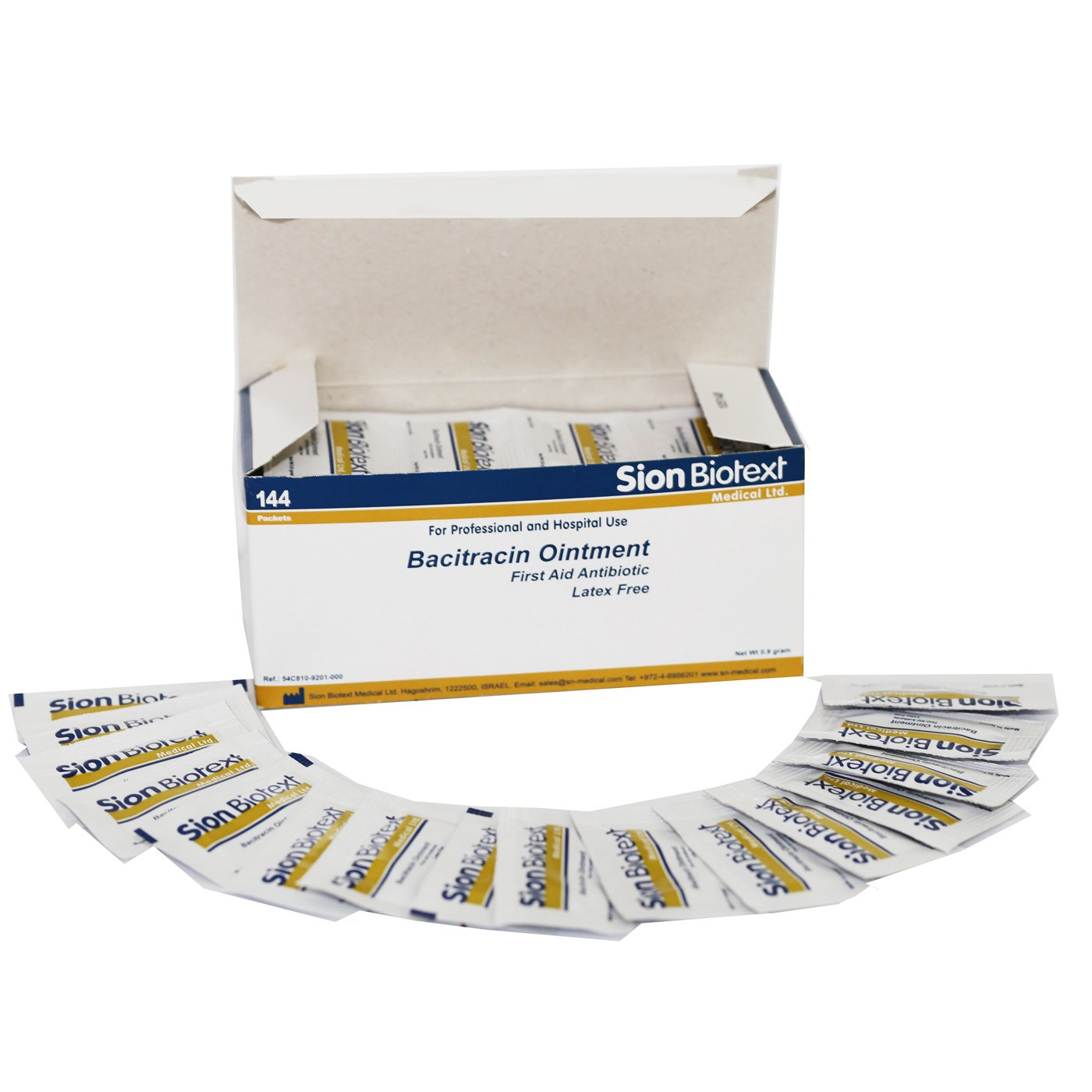Bacitracin Ointment First Aid Antiseptic Antibiotic Cream by Sion Medical. Prevent Wound Infection, Aftercare Antibacterial, Skin Immediate Pain Relief. 144 Individual Packets to go 0.031 oz (0.9g) by Sion Biotext (Image #3)