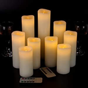 "Eloer Flameless Candles Battery Candles Set of 9(D 2.2"" X H 4"" 5"" 6"" 7"" 8"" 9"") Ivory Real Wax with Remote Control and 10-Key Remote Timer for Home Decoration and Wedding Gift (Batteries Not Included)"